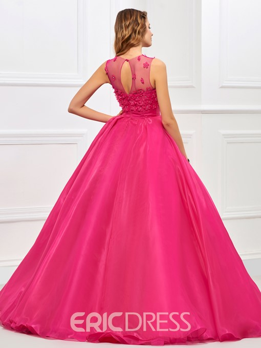 Ericdress Jewel Neck Ball Gown Appliques Floor-Length Quinceanera Dress