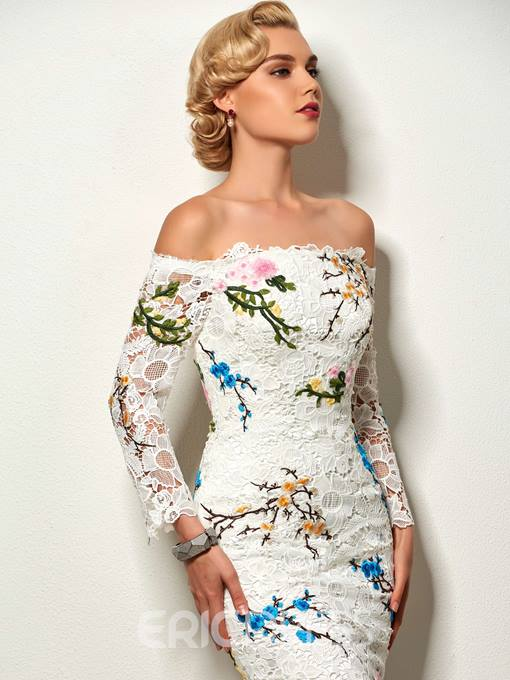 Ericdress Sheath Off The Shoulder Applique Lace Short Cocktail Dress With Long Sleeve