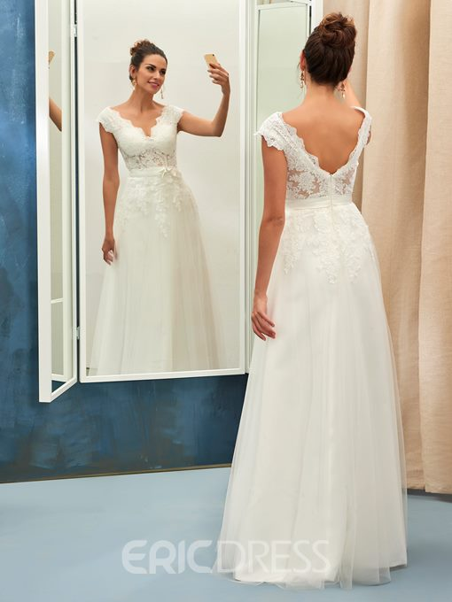Ericdress Cap Sleeve V Neck Appliques Wedding Dress