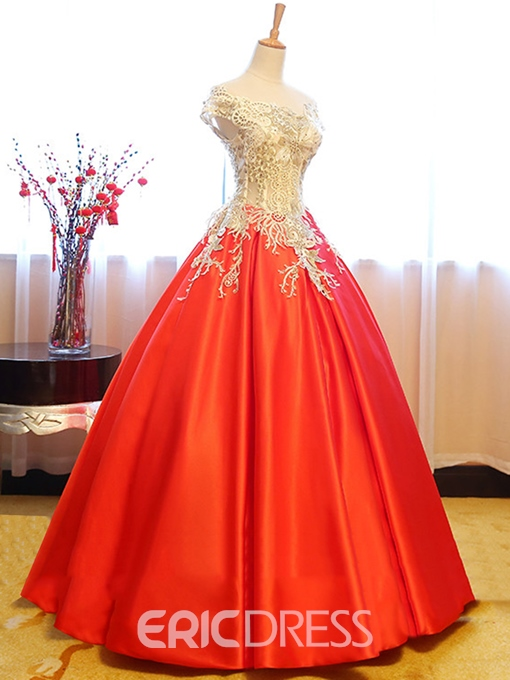 Ericdress Graceful Ball Cap Sleeve Applique Lace-Up Quinceanera Dress