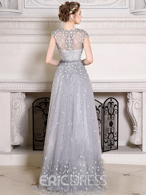 Ericdress Cap Sleeve Flower Pearl Beaded Prom Dress With Train