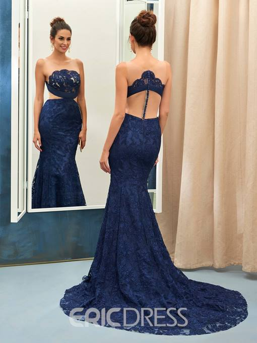 Ericdress Sexy Sheer Tulle lace Applique Button Back Mermaid Evening Gown