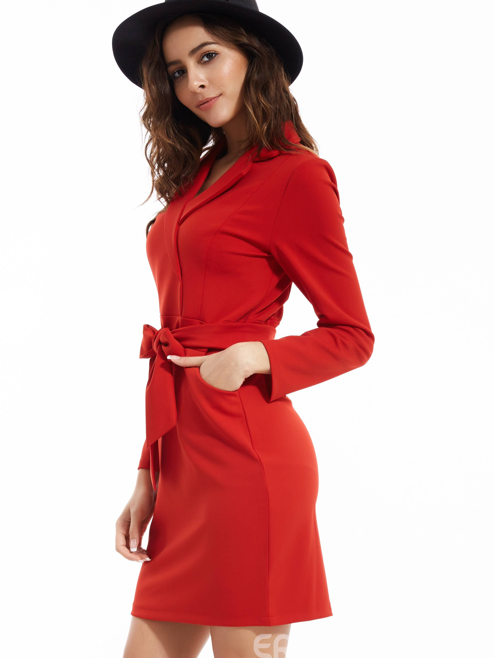 Ericdress Notched Lapel Belt Included Bodycon Dress