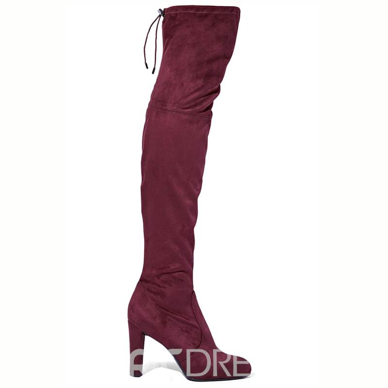 Ericdress Red Chunky Heel Over-the-Knee Boots
