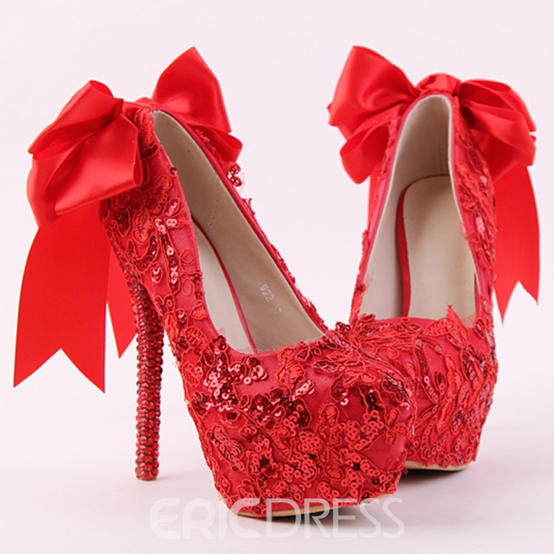 Ericdress Queen Style Red Lace Bowtie Wedding Shoes