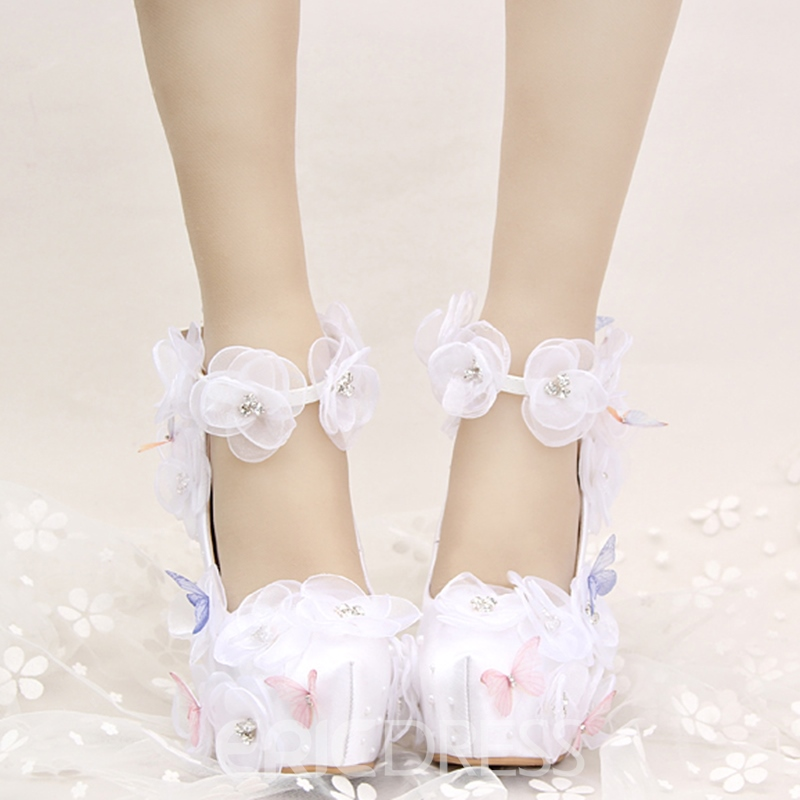 Ericdress Butterfly&flower Lace Appliques Wedding Shoes