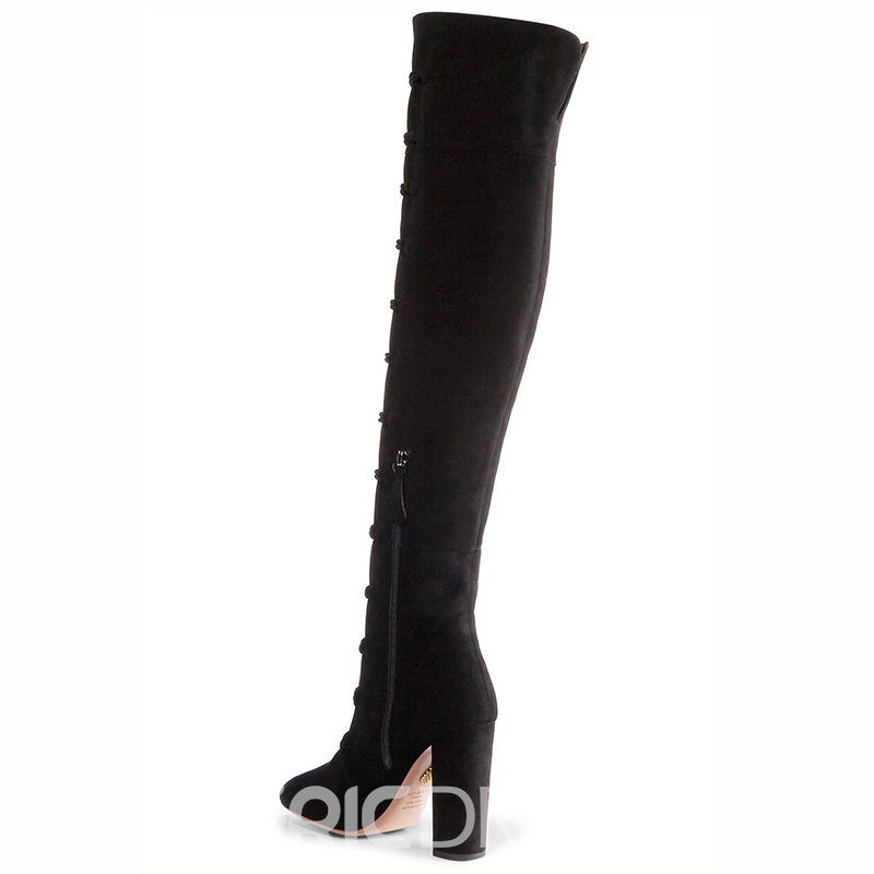 Ericdress Pointed Toe Chunky Heel Over-the-Knee Boots