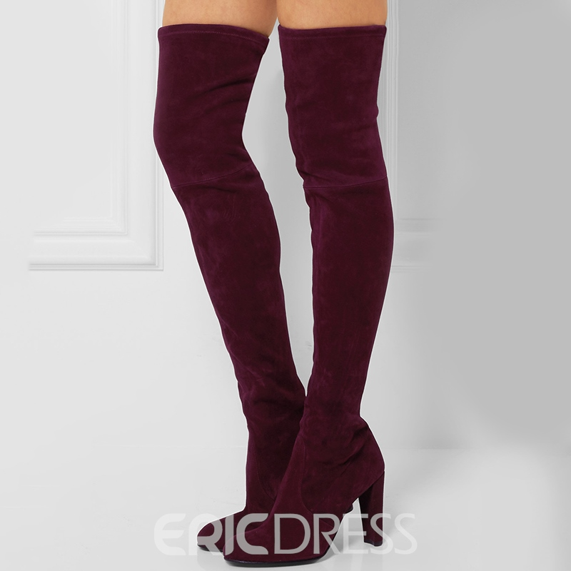 d8edbb8a9ef5 Ericdress Red Lace-Up Back Over-the-Knee Boots 12683724 - Ericdress.com