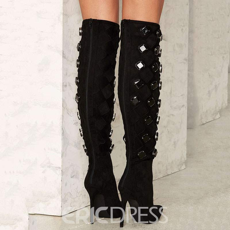 Rricdress Gorgeous Black Rhinestone Point Toe Knee High Boots