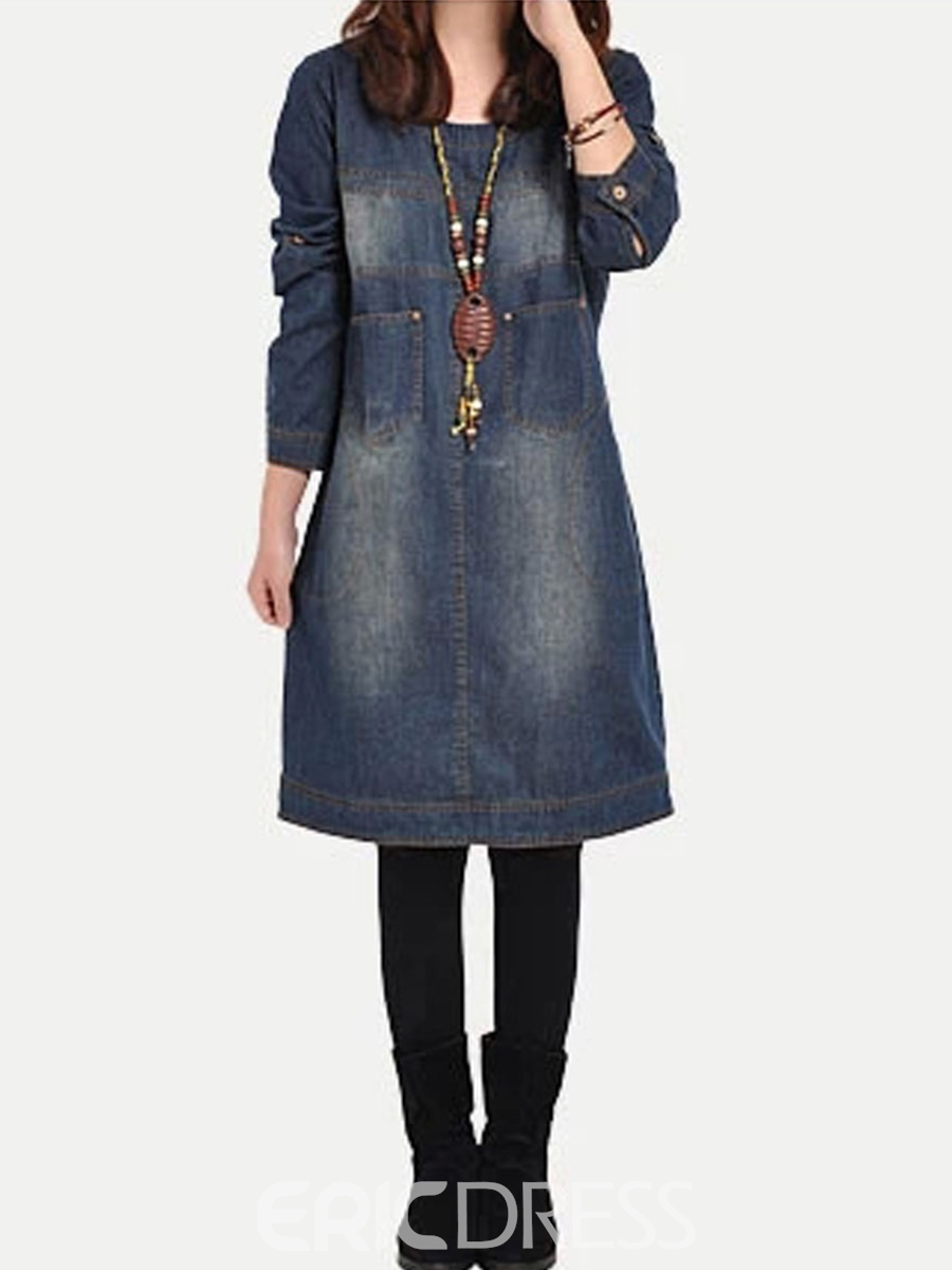 Ericdress Round Neck Denim Casual Dress