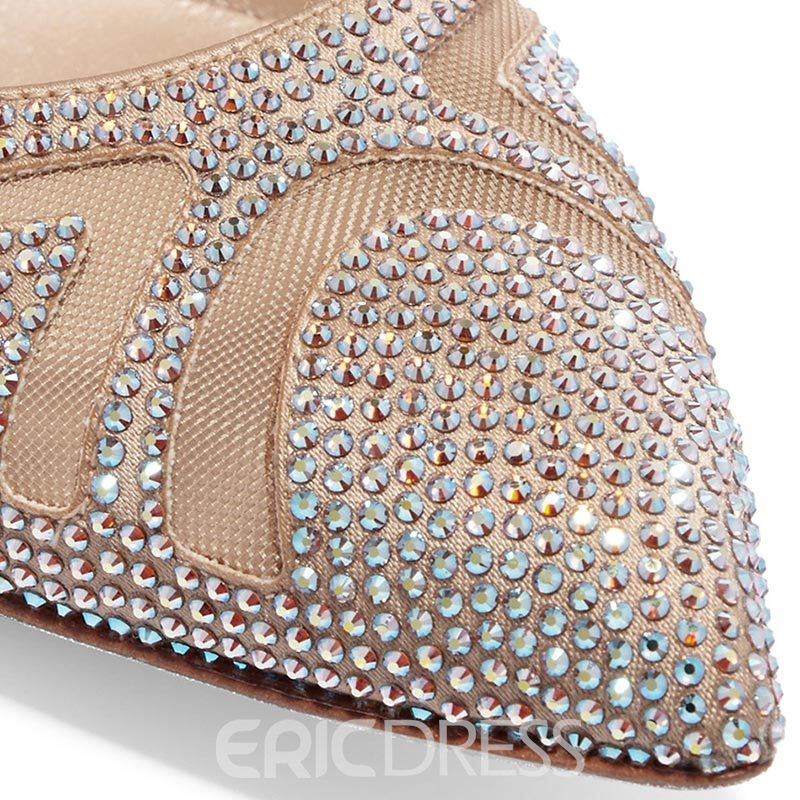Ericdress Princess Pointed Toe Lace-Up Rhinestone Stiletto Sandals