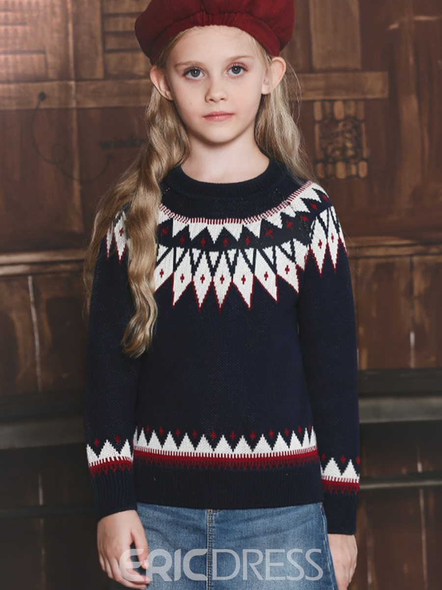Ericdress Round-Neck Geometric Designed Girl's Sweater