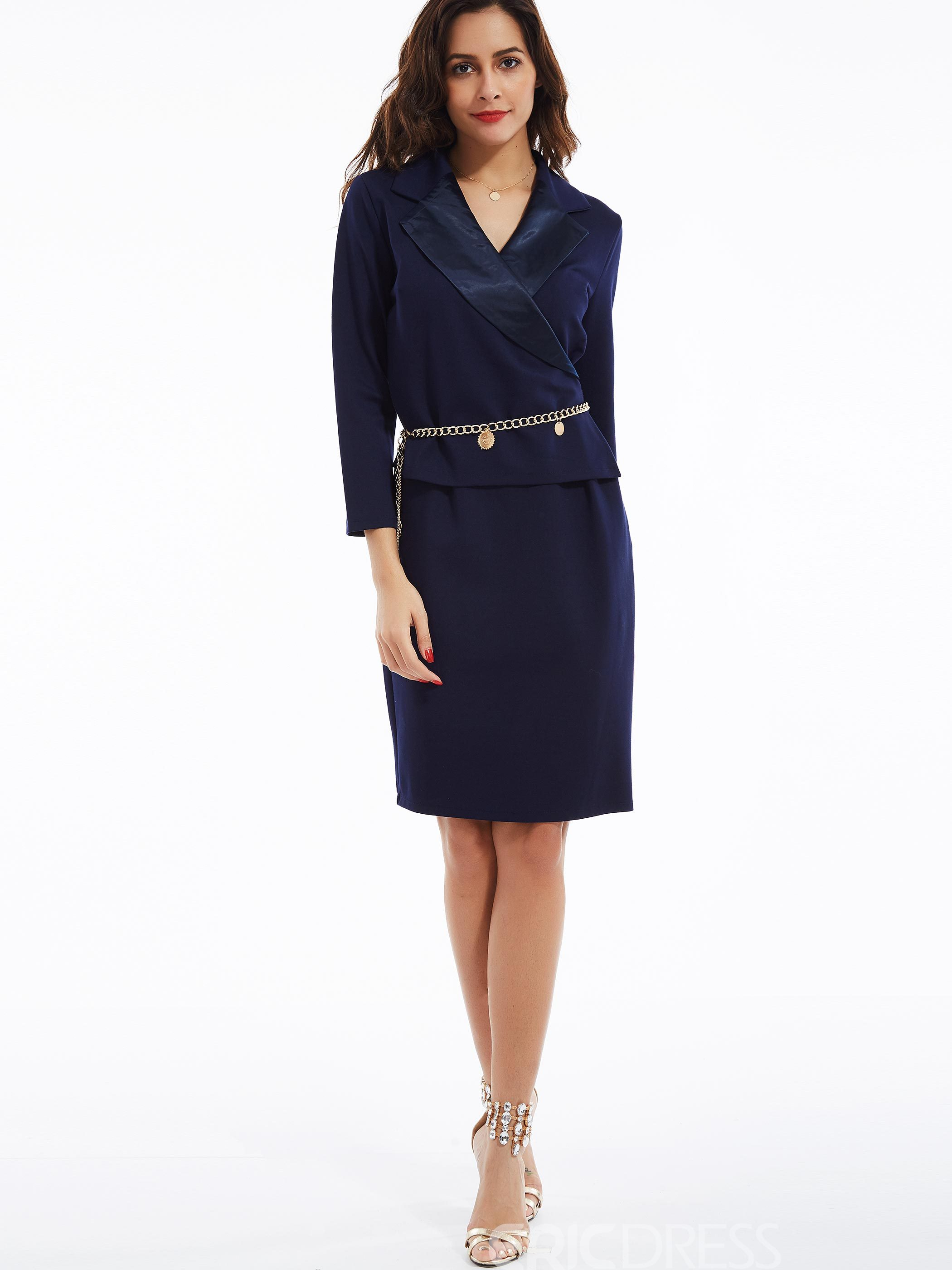 Ericdress Plain Notched Lapel Knee-Length Bodycon Dress