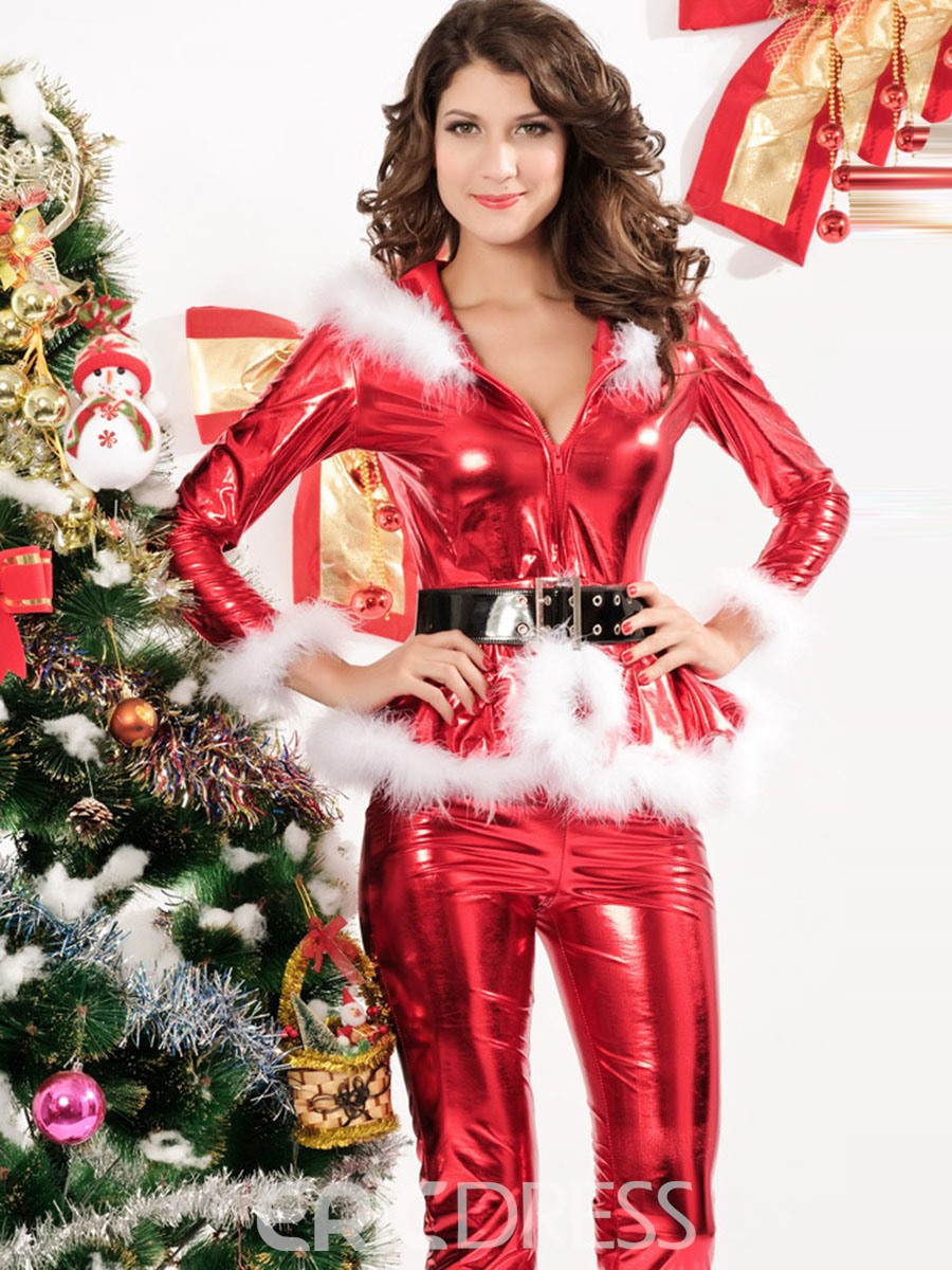 Ericdress Long Sleeve V-Neck Zipper Belt Christmas Costume