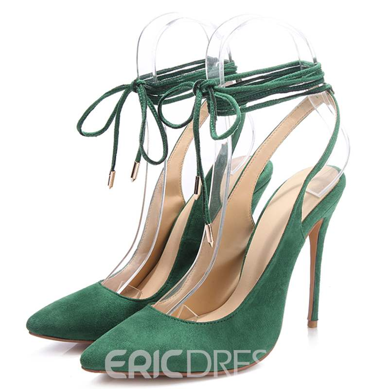 Ericdress Lace-Up Pointed Toe Ultra-High Heel Pumps