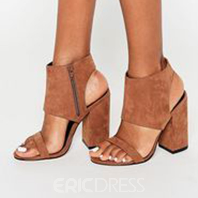 Ericdress Brown Side Zipper Block Heel Sandals