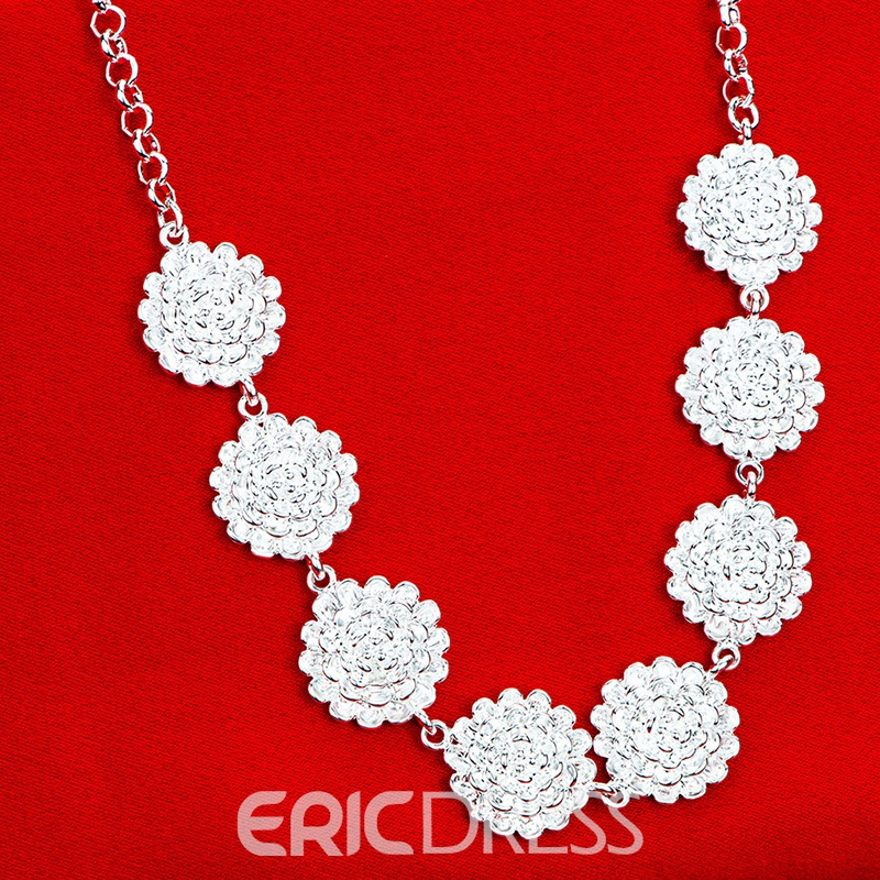 Ericdress Silver Plated Rose Pendant Necklace