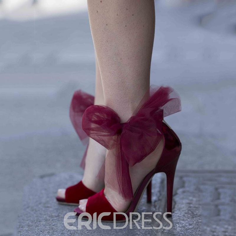 Ericdress Amazing Burgundy Lace Bowknot Stiletto Sandals