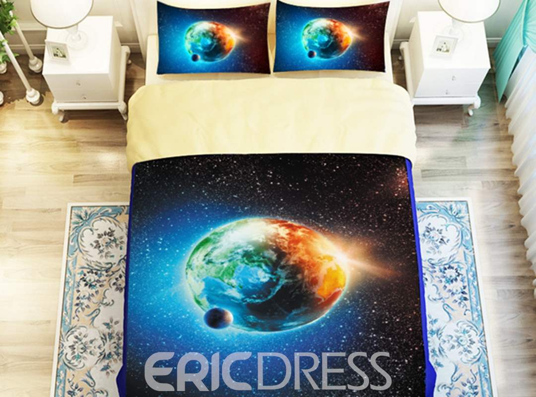 Beautiful the Earth 3D Printed 4-Piece Polyester Duvet Cover Sets