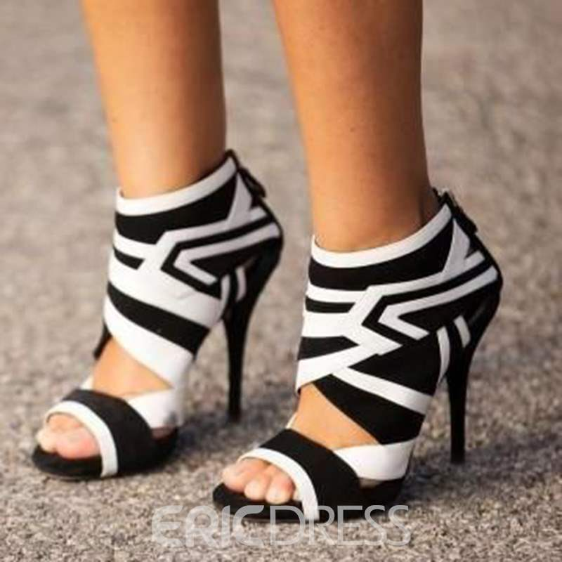 Ericdress Black and White Geometric Patterns Stiletto Sandals