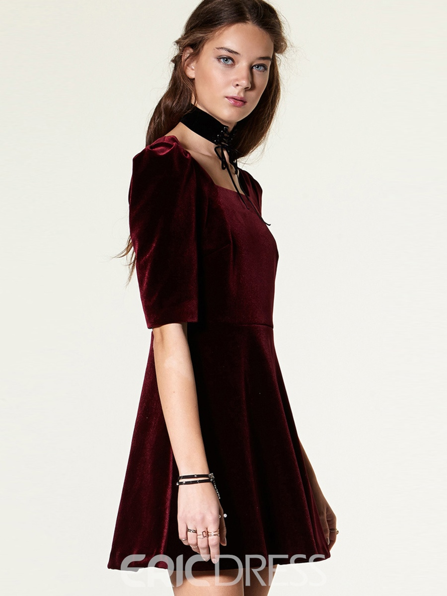 Ericdress Square Neck Half Sleeve Patchwork Casual Dress