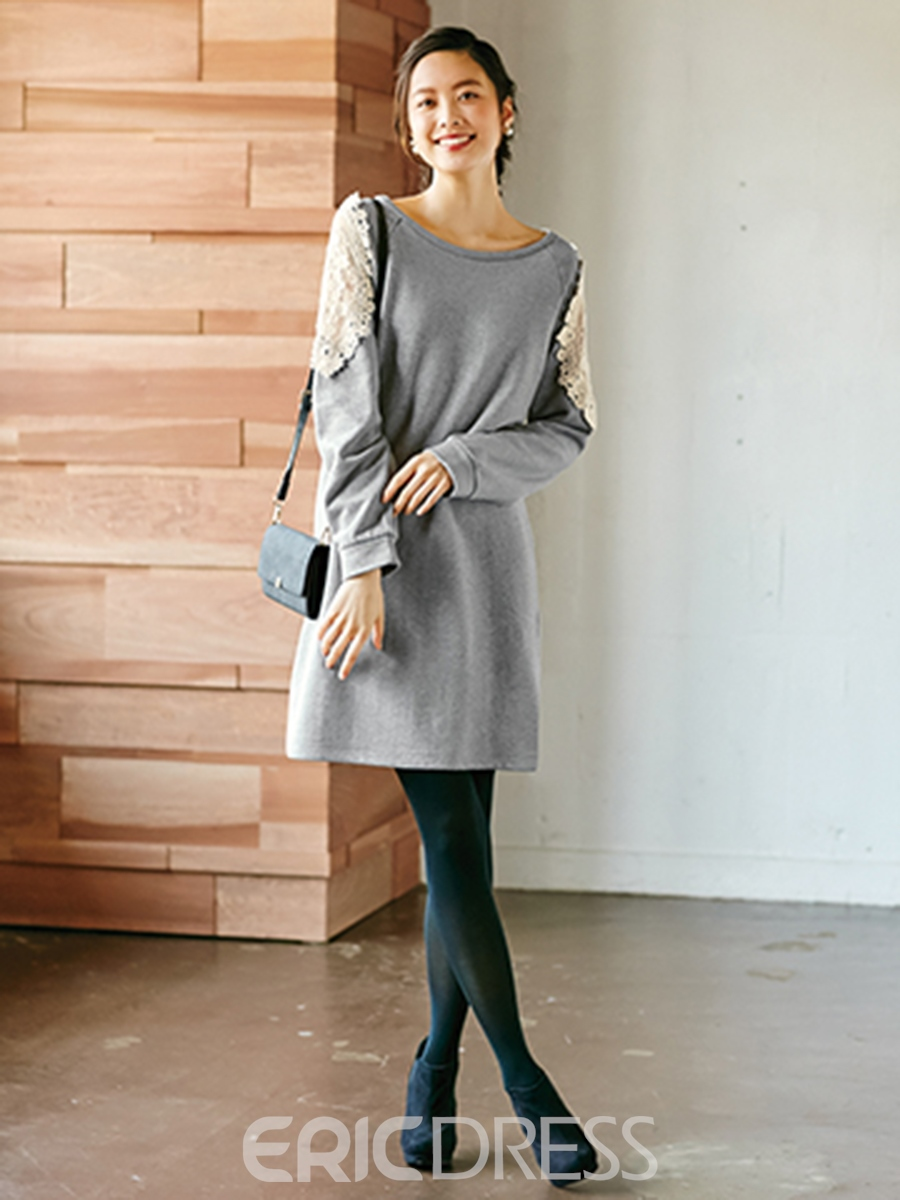 Ericdress Back Split Bowknot Patchwork Loose Above Knee Casual Dress