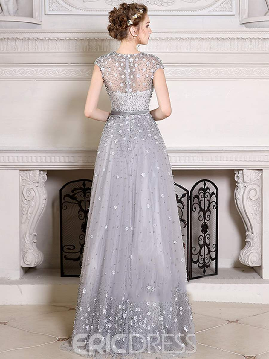 Ericdress Cap Sleeve Flower Pearl Beaded Prom Dress With Detachable Train