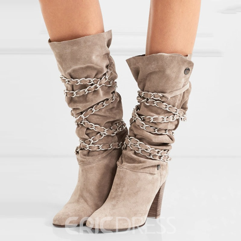 Ericdress Decent Chain Embellished Chunky Heel Knee High Boots