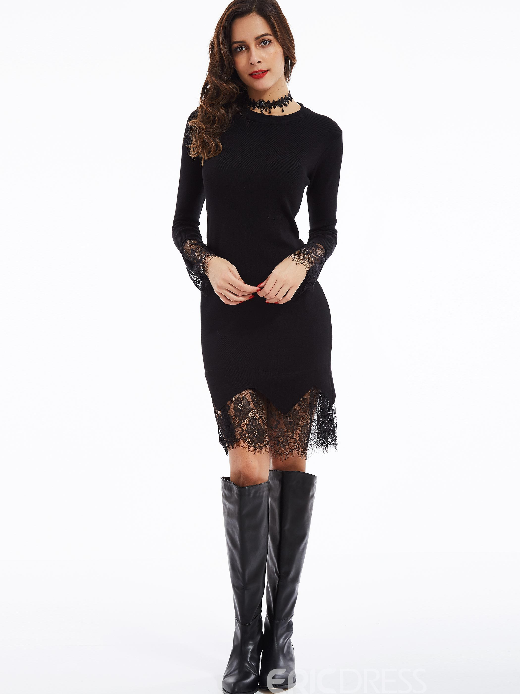 Ericdress Round Neck Lace Patchwork Sweater Dress