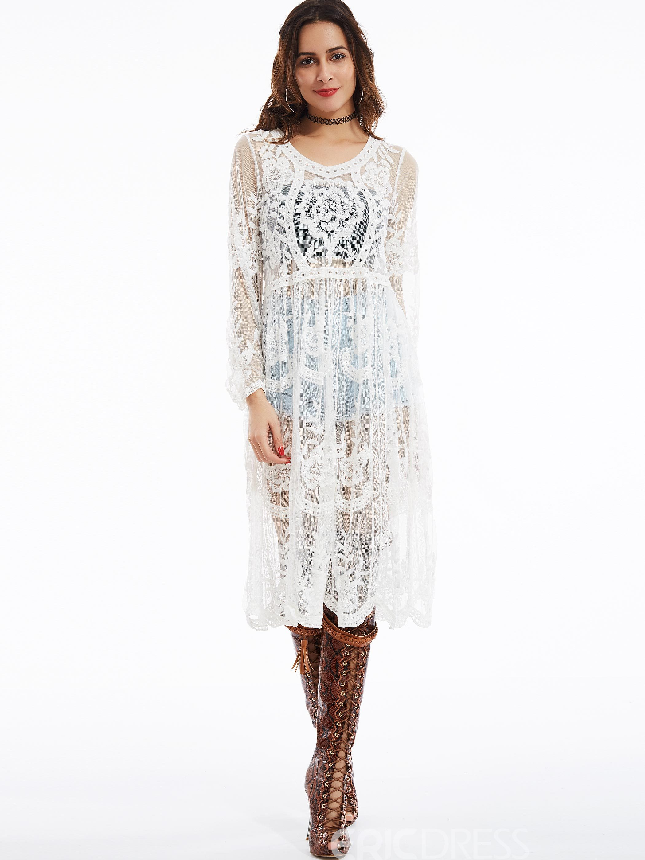 Ericdress See-Through Round Neck Flare Sleeves Lace Dress