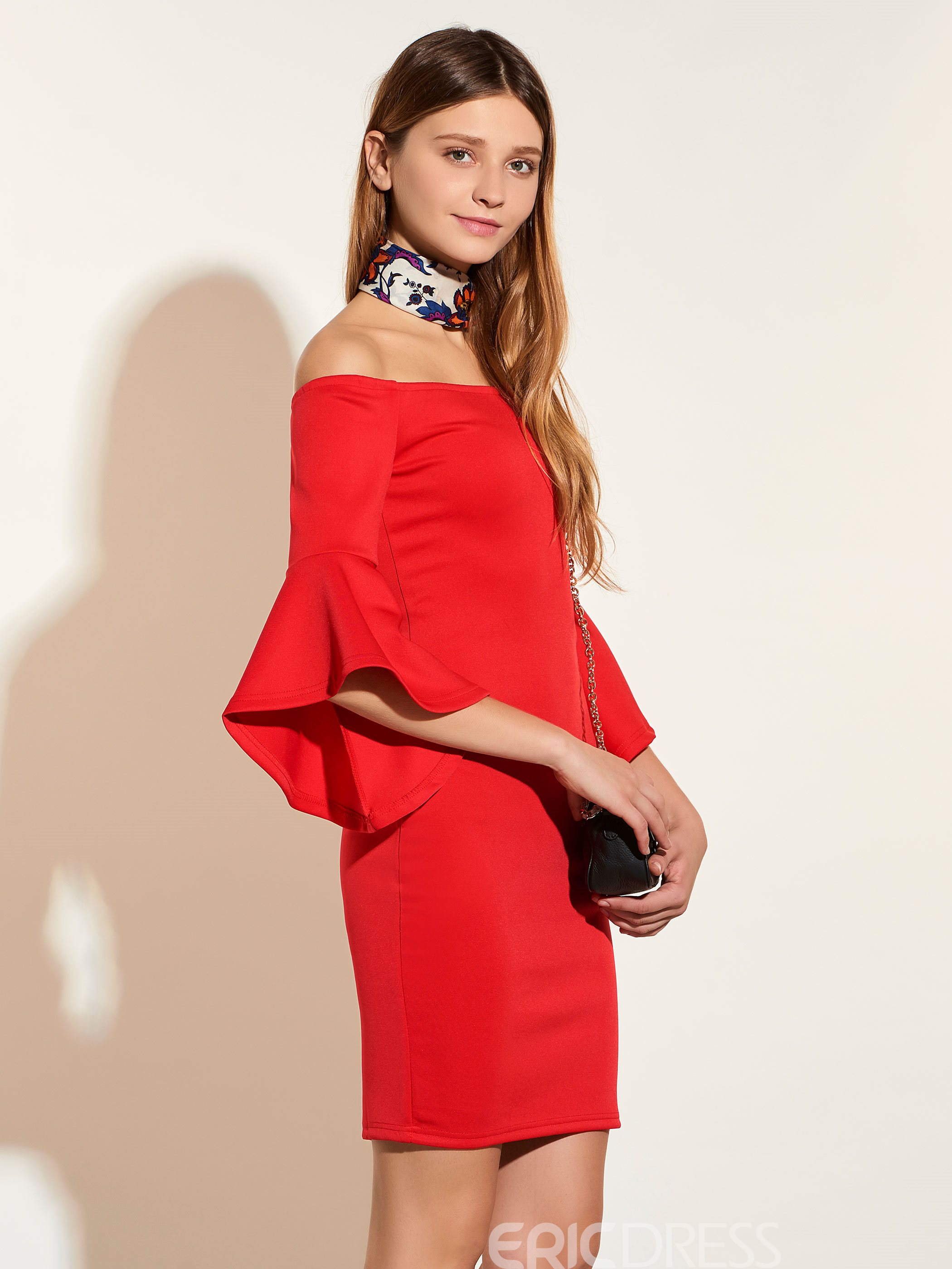 Ericdress Off-the-Shoulder Flare Sleeve Bodycon Dress