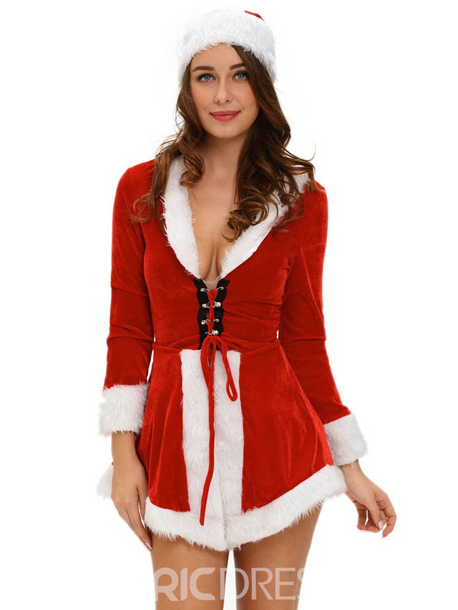 Ericdress Deep V-Neck Asymmetric Lace-Up Christmas Costume