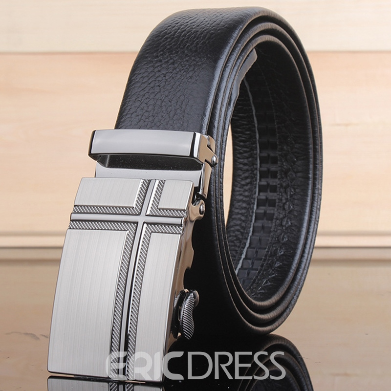 Ericdress Cross Pattern Automatic Buckle Cowhide Leather Belt