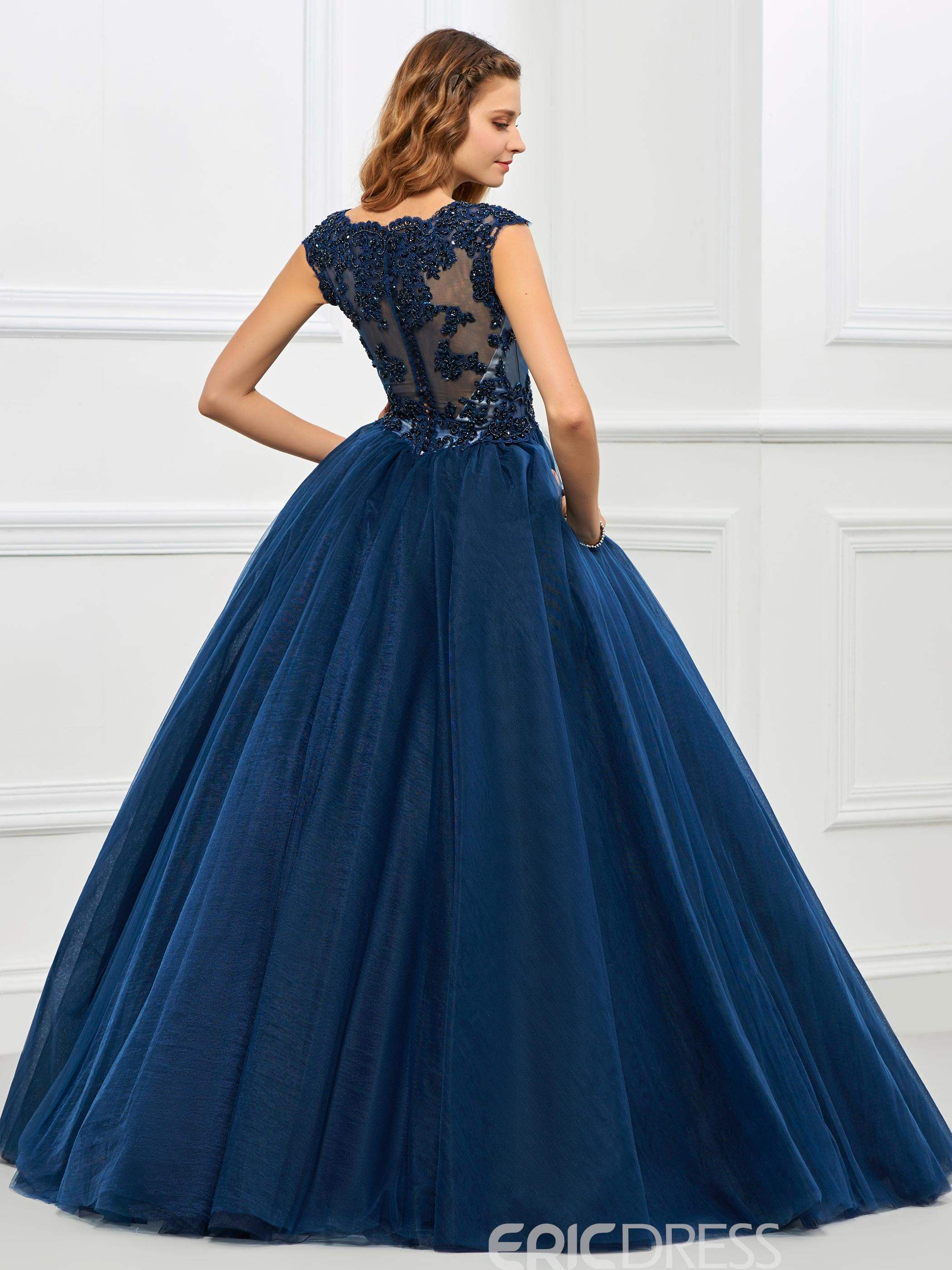 Ericdress Cap Sleeve Applique Tulle Ball Quinceanera Gown With Beadings