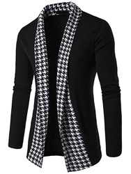 Ericdress Vogue Houndstooth Patchwork Cardigan Mens Knitwear фото