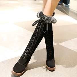 Ericdress Eurameric Suede Round Toe Lace up Knee High Boots