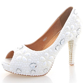 Ericdress Peep Toe Beads Wedding Shoes