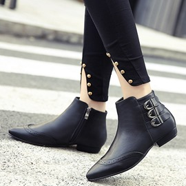 Ericdress Chic PU Buckles Point Toe Ankle Boots