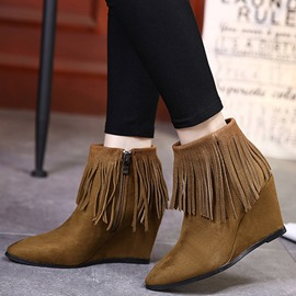 Ericdress Retro Suede Tassels Point Toe Ankle Boots