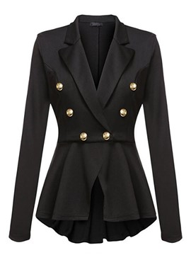 Ericdress Plain Double-Breasted Slim Blazer