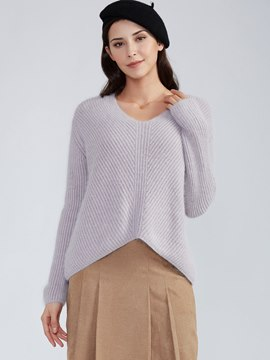 Ericdress Loose Plain V-Neck Pullover Knitwear
