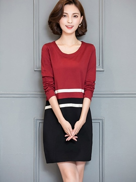 Ericdress Color Block Strip Round Collar Casual Dress