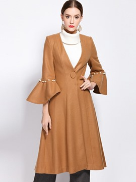 Ericdress Slim V-Neck Solid Color Wave Cut Coat