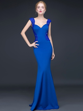 Ericdress Sexy Strpas Beaded Deep Back Mermaid Evening Dress