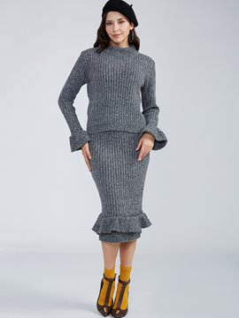 Ericdress Turtleneck Flare Sleeves Knitwear Mermaid Skirt Suit