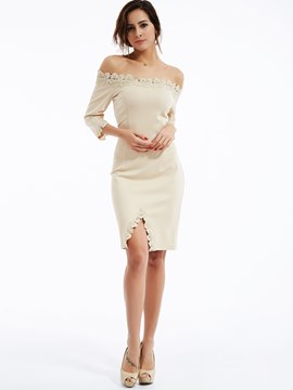 Ericdress Three-Quarter Sleeve Zipper Slash Neck Bodycon Dress
