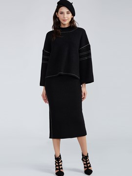 Ericdress Plain Knitwear And Sweater Skirt Suit