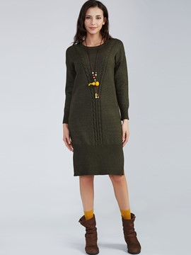 Ericdress Weave Knitting Plain Round Neck Sweater Dress