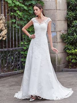 Ericdress Cap Sleeve Beading Lace Garden Wedding Dress