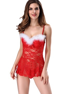 Ericdress Spaghetti Strap See-Through Lace Babydoll